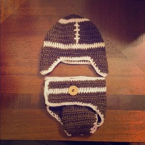 Newborn knitted football outfit